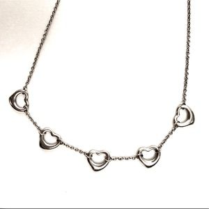 "Tiffany & Co. 5 Open Hearts Necklace, 16"""
